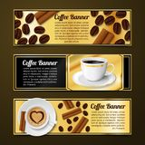 Coffee banners horizontal. Coffee espresso cappuccino latte horizontal banners with cinnamon and beans isolated vector illustration Royalty Free Stock Images