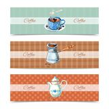 Coffee Banners Set. Coffee horizontal banners set with watercolor cup and pot isolated vector illustration Stock Photo