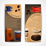 Coffee banners set. Coffee vertical banner set with cup mug coffee-bulb beans isolated vector illustration Stock Images