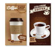 Coffee Banners Set. Coffee vertical realistic banners set with takeway symbols isolated vector illustration Royalty Free Stock Image