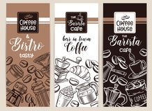 Coffee banners. Vector coffee hand drawn banners witch sketch cups, French press, brewer for menu cafe Stock Photos