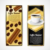 Coffee banners vertical. Black and gold coffee vertical banners with cinnamon beans and porcelain cup isolated vector illustration Royalty Free Stock Photo