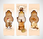 Coffee banners vertical. Coffee colored vertical banners set with turk cookies cinnamon grinder cup isolated vector illustration Stock Images