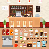 Coffee bar with beverages on the table. Coffee shop vector flat illustrations. Coffee bar interior with cakes, coffee machines and cooking utensils on the Stock Photos