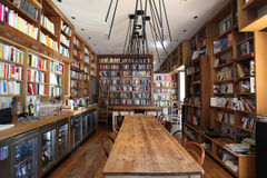 Coffee bar and bookcase in Rome Stock Photos