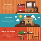 Coffee Bar 2 Flat Horizontal Banners Stock Images