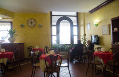 Coffee bar in Italy. Inside view of a coffee bar in the medieval town of Todi. Umbria, Italy region Royalty Free Stock Image