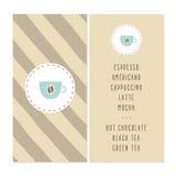 Coffee bar menu design. Royalty Free Stock Photos