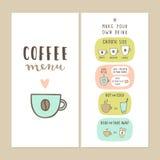 Coffee bar menu template. Stock Photos