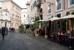Coffee bar  and restaurant in Trastevere district in Rome Royalty Free Stock Image
