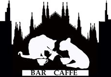 Coffee bar shop in Milan with cat and dog royalty free illustration