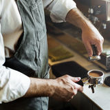 Coffee Barista Cafe Steam Occupation Apron Concept Stock Images