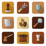 Coffee barista instruments icons set Stock Photography