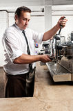Coffee barista at work Stock Images