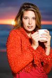 Coffee on the beach Stock Photo