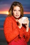 Coffee on the beach Stock Photo