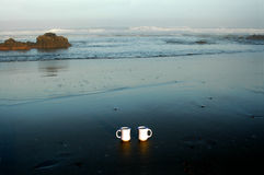 Coffee at the Beach. Morning coffee at the beach royalty free stock photo