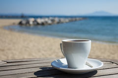 Coffee at the beach. Royalty Free Stock Photography