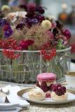 Coffee beak. Coffee break with fresh flowers Royalty Free Stock Photo