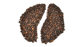 Coffee bean. Shape of coffee bean  made on white background Royalty Free Stock Images