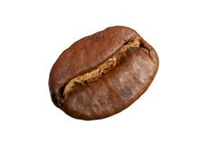 Coffee bean. Macro of one coffee bean against white Royalty Free Stock Image