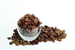 Coffee Bean. Overflowing from a glass mug Stock Image