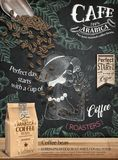 Coffee bean ads. Paper bag package in 3d illustration on engraving style painted chalkboard vector illustration