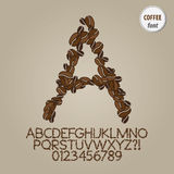 Coffee Bean Alphabet and Digit Vector Royalty Free Stock Photos