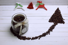 Coffee bean arrow Royalty Free Stock Photo