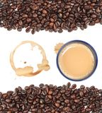 Coffee bean background. Isolated coffee bean border and coffee stains at over 21 MP stock image