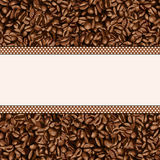 Coffee bean background with blank banner Stock Photos
