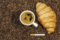 Coffee bean background with cup of fresh hot coffee and plate full of cookies Royalty Free Stock Photos