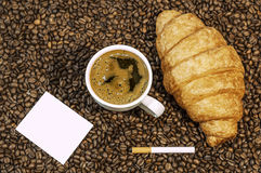 Coffee bean background with cup of fresh hot coffee and plate full of cookies Royalty Free Stock Images