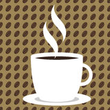 Coffee Bean Background - light. Seamless tileable sweet Coffee background with mug and steam on bean-filled background Stock Images