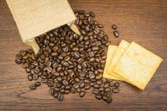 Coffee bean in bag Stock Photos
