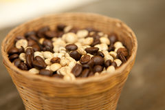 Coffee bean in basket Royalty Free Stock Image