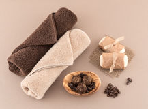 Coffee Bean Bath Bombs, Spa Soap and Luxury Towels Stock Photos