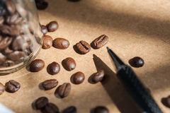 Coffee bean. Coffee bean and black pen on brown paper royalty free stock image