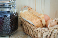 Coffee bean in the bottle , egg and bread Stock Photography
