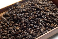 Coffee Bean in a  Box. Close up Coffee Bean in a  Box Royalty Free Stock Photo