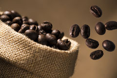 Coffee Bean Caffeine in sacks Stock Photo