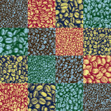 Coffee bean checkers tiled pattern Stock Images