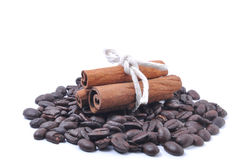 Coffee bean and cinnamon Royalty Free Stock Images