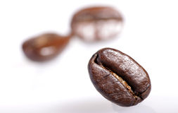 Coffee bean close-up. One roasted coffee bean sharply in focus with two out of focus beans in background on white Stock Photo
