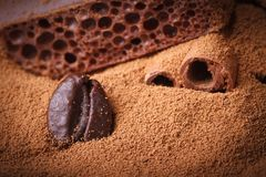 Coffee bean close-up in the ground coffee. macro texture Stock Image