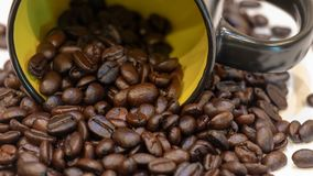 Coffee bean closeup with black cup Stock Image