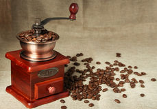 Coffee bean and coffee bean grinder Royalty Free Stock Photo
