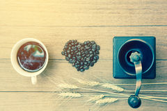 Coffee bean,coffee cup and grinder Royalty Free Stock Photo