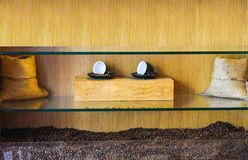 Coffee bean and coffee cup. in wood decor stock photography