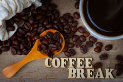 Coffee Bean WIth Cup of Coffee and Wood Alphabets Royalty Free Stock Image